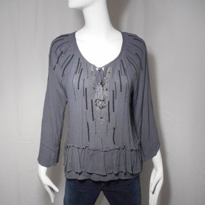~Knox Rose~ Cute Gray Sequined Ruffle Blouse Sz S
